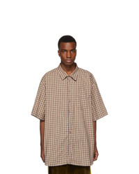 Chemise à manches courtes écossaise marron clair Gucci