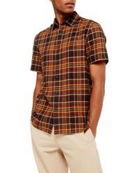 Chemise à manches courtes écossaise multicolore