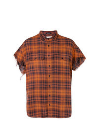 Chemise à manches courtes écossaise orange