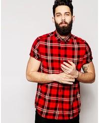 Chemise à manches courtes écossaise rouge et noir Asos