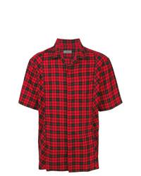 Chemise à manches courtes écossaise rouge et noir Lanvin