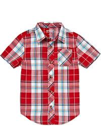 Chemise à manches courtes écossaise rouge