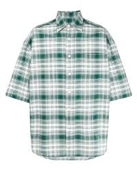 Chemise à manches courtes écossaise vert foncé Ami Paris
