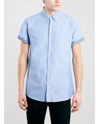 Chemise à manches courtes en chambray bleu clair