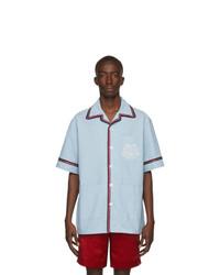 Chemise à manches courtes en chambray bleu clair Gucci
