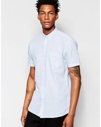 Chemise à manches courtes en chambray bleu clair Minimum