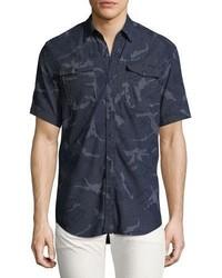 Chemise à manches courtes en chambray bleu marine