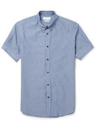 Chemise à manches courtes en chambray bleue Alexander McQueen