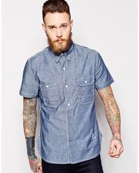 Chemise à manches courtes en chambray bleue