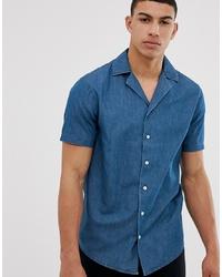 Chemise à manches courtes en chambray bleue Solid