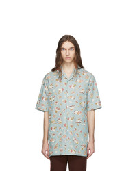 Chemise à manches courtes en chambray imprimée bleu clair Gucci