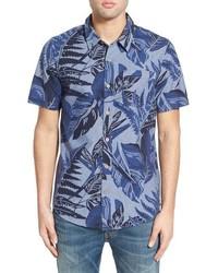 Chemise à manches courtes en chambray imprimée bleue