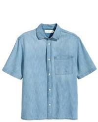 Chemise à manches courtes en denim bleu clair