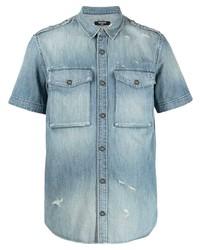 Chemise à manches courtes en denim bleu clair Balmain