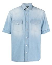 Chemise à manches courtes en denim bleu clair Z Zegna