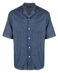 Chemise à manches courtes en denim bleu marine Z Zegna