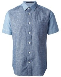 Chemise à manches courtes en denim bleue