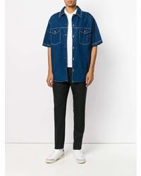 Chemise à manches courtes en denim bleue AMI Alexandre Mattiussi