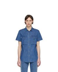 Chemise à manches courtes en denim bleue Balmain