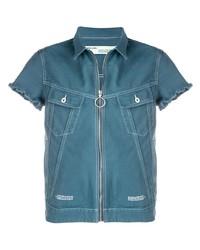 Chemise à manches courtes en denim bleue Off-White
