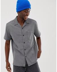 Chemise à manches courtes en denim grise ASOS DESIGN