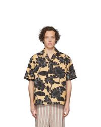 Chemise à manches courtes en lin à fleurs jaune Jacquemus