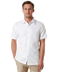 Chemise à manches courtes en lin blanche