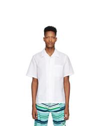Chemise à manches courtes en lin blanche Kenzo