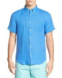 Chemise à manches courtes en lin bleu clair