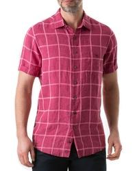 Chemise à manches courtes en lin fuchsia