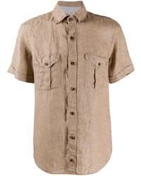 Chemise à manches courtes en lin marron clair Eleventy