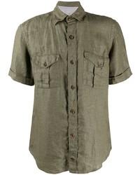 Chemise à manches courtes en lin olive Eleventy