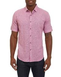 Chemise à manches courtes en lin rouge