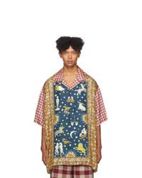 Chemise à manches courtes en soie à carreaux multicolore Gucci