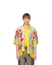Chemise à manches courtes en soie à fleurs jaune Gucci