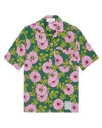 Chemise à manches courtes en soie à fleurs verte Gucci