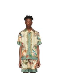 Chemise à manches courtes en soie imprimée blanche Gucci