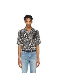 Chemise à manches courtes en soie imprimée léopard noire Saint Laurent