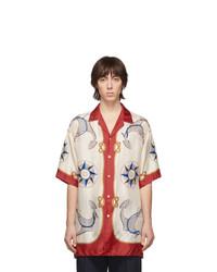 Chemise à manches courtes en soie imprimée multicolore Gucci