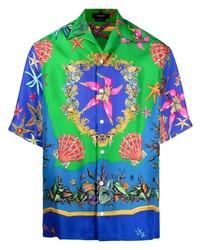 Chemise à manches courtes en soie imprimée multicolore Versace
