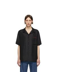 Chemise à manches courtes en soie imprimée noire et blanche Valentino