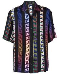 Chemise à manches courtes en soie imprimée noire Versace