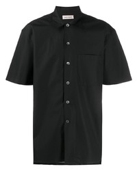 Chemise à manches courtes en soie noire Alexander McQueen