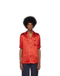 Chemise à manches courtes en soie rouge Gucci