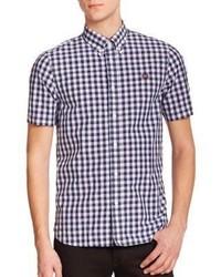 Chemise à manches courtes en vichy bleu marine et blanc
