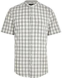 Chemise à manches courtes en vichy grise