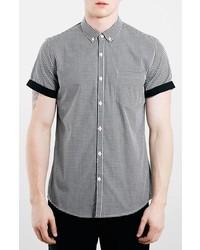 Chemise à manches courtes en vichy noire et blanche