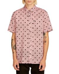 Chemise à manches courtes en vichy rose