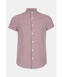 Chemise à manches courtes en vichy rouge et blanc