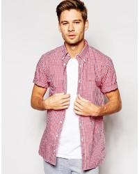 Chemise à manches courtes en vichy rouge et blanc Tommy Hilfiger